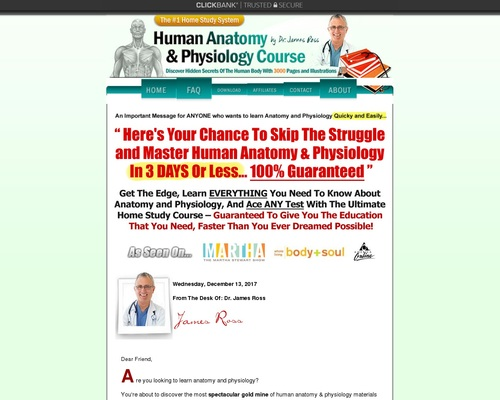 Updated! Human Anatomy & Physiology Course — $55.81 Per Sale!